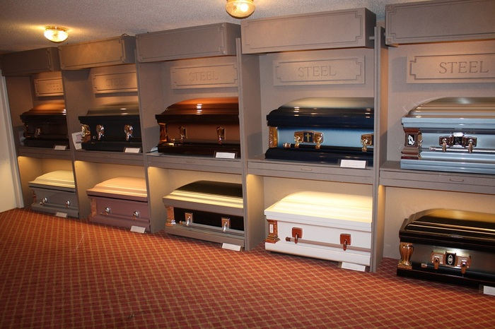Casket Selection Room Metal caskets