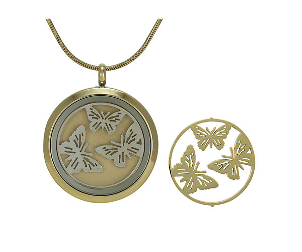 Butterflies Round Pendant-Bronze (J5033) $135