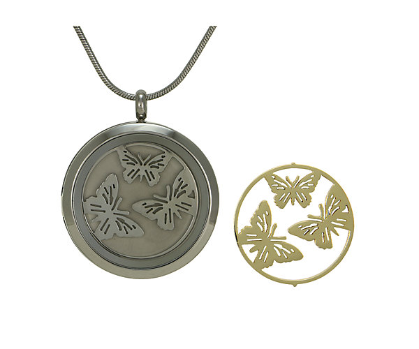 Butterflies Round Pendant-Pewter (J5073) $135