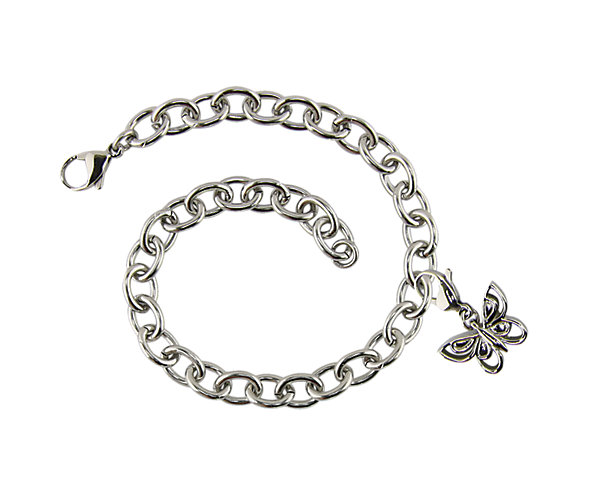 Charm Bracelet with Butterfly Charm (J9504) $130