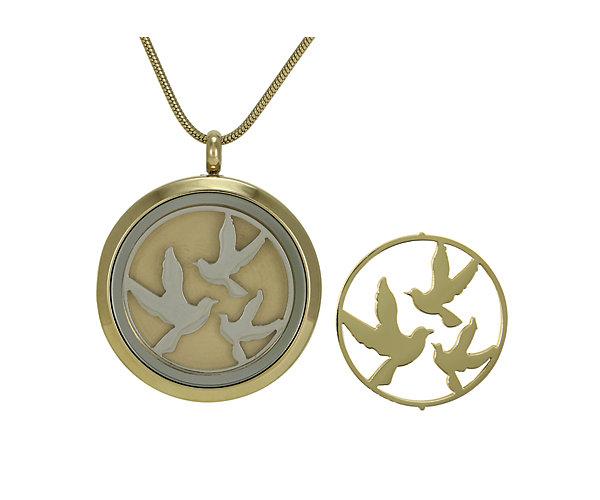 Birds Round Pendant-Bronze (J5037) $135