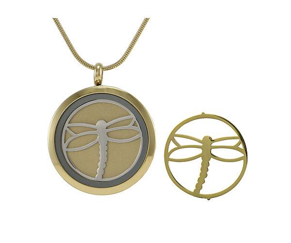 Dragonfly Round Pendant-Bronze (J5039) $135