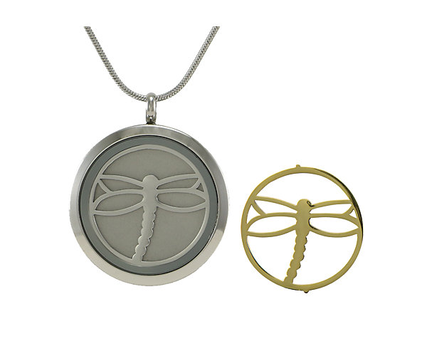 Dragonfly Round Pendant-Pewter (J5079) $135