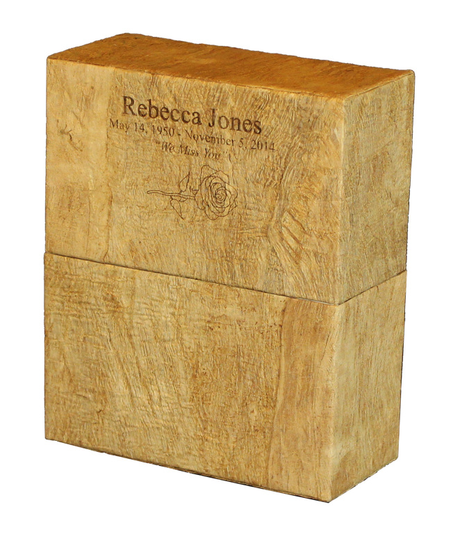 Simplicity Wood Grain $ 194.00 includes 3 lines of engraved text 3.75 L x 8.25 W x 10 H (240 Cubic Inches)