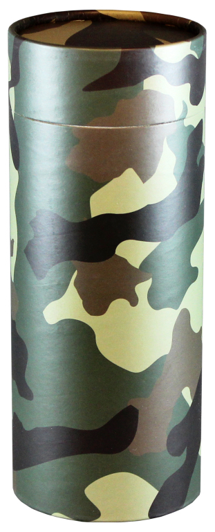 Camouflage $ 95.00 (Engraving additional starting at $ 49.00 for 3 lines of text) 5.1 Diameter x 12.6 H (200 Cubic Inches)