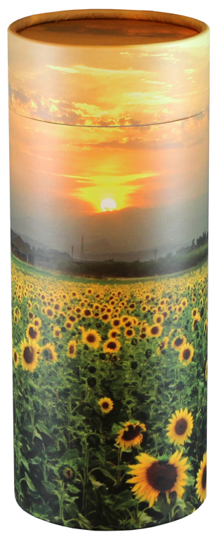 Sunflower Fields $ 95.00 (Engraving additional starting at $49.00 for 3 lines of text) 5.1 Diameter x 12.6 H (200 Cubic Inches)
