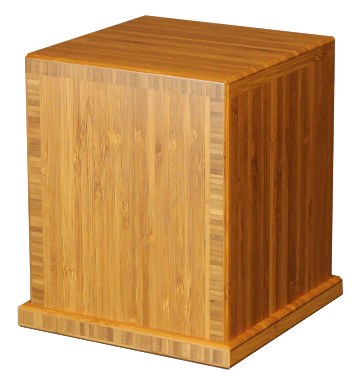 Earth Traditional Bamboo, Carmelized finish  425.00 Engraving additional starting at  49.00 for 3 lines of text 7.625 L x 7.625 W x 8.625 H 210 Cubic Inches