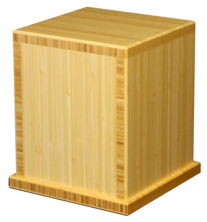 Earth Traditional Bamboo, Natural FInish  425.00 Engraving additional starting at  49.00 for 3 lines of text 7.625 L x 7.625 W x 8.625 H 210 Cubic Inches