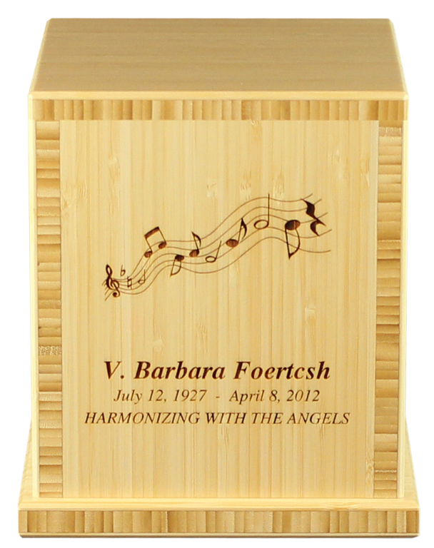 Earth Traditional Bamboo, Natural finish  425.00 Includes 3 lines of engraved text and standard clip art 7.625 L x 7.625 W x 8.625 H 210 Cubic Inches