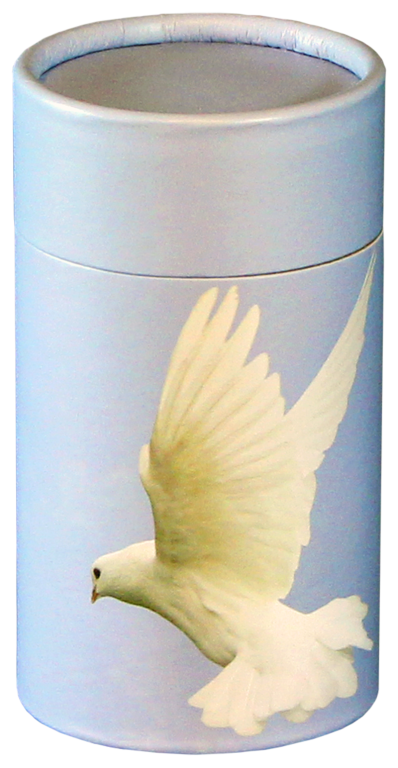 Ascending Dove MINI Scattering Urn $ 45.00 2.95 Dia. x 5.25 H (20 Cubic Inches) (Engraving additional starting at $ 49.00 for 3 lines of text)