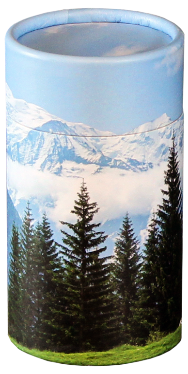 Mountain View MINI Scattering Urn $ 45.00 2.95 Dia. x 5.25 H (20 Cubic Inches) (Engraving additional starting at $ 49.00 for 3 lines of text)