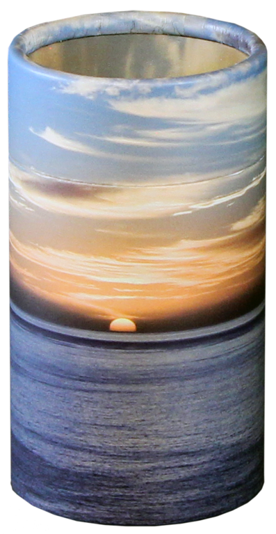 Ocean Sunset MINI Scattering Urn $ 45.00 2.95 Dia. x 5.25 H (20 Cubic Inches) (Engraving additional starting at $ 49.00 for 3 lines of text)