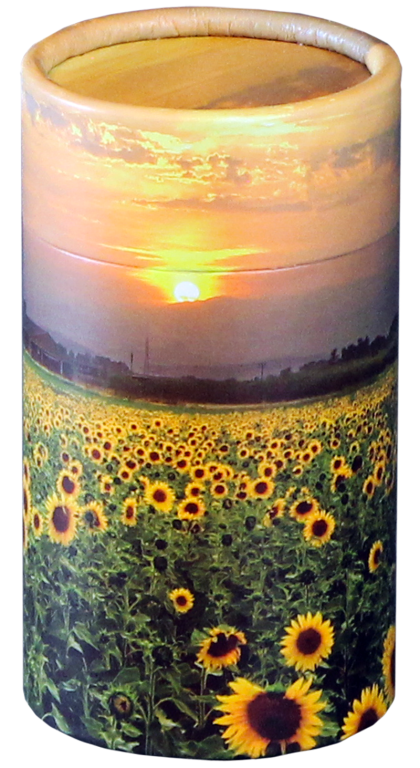 Sunflower Fields MINI Scattering Urn $ 45.00 2.95 Dia. x 5.25 H (20 Cubic Inches) (Engraving additional starting at $ 49.00 for 3 lines of text)