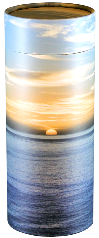 Ocean Sunset MEDIUM Size $ 75.00 4 Dia. x 10.1 H (100 Cubic Inches  SMALL Size $ 60.00 (2.95 Dia. x 8.9 H (40 Cubic Inches) (Engraving additional starting at $ 49.00 for 3 lines of text)