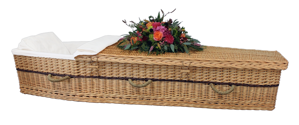 Six-Point Willow Coffin  1,650.00 Interior 70 L x 20 W x 12 H   Exterior 77 L x 24 W x 12 H