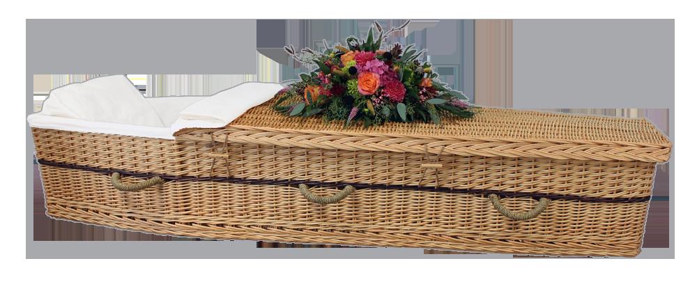 Six-Point Willow Coffin $ 1,650.00 Interior: 70 L x 20 W x 12 H   Exterior: 77 L x 24 W x 12 H