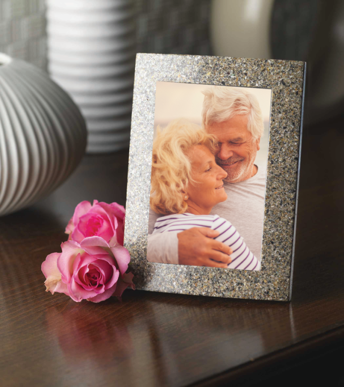 Picture Frame Crafted using cremated remains  275.00 Large 6.82 W x 8.82 L holds a 4 x 6 photo  250.00 Small 5.82 W x 7.82 L holds a 3 x 5 photo