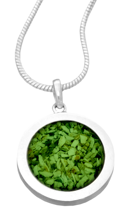 Custom Made Round Colored Pendant  295.00 Sterling Silver .9 Dia.
