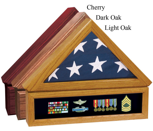 Premium Flag Case w Medal Display Case  269.00 24W x 12.75H x 4D Flag Case 22.5W x 6H x 4D Medal Display Case
