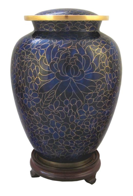 Indigo Cloisonne' Urn Full Size  305.00 9.3 x 6.8 200 Cubic Inches Keepsake Size  83.00 3 x 1.75