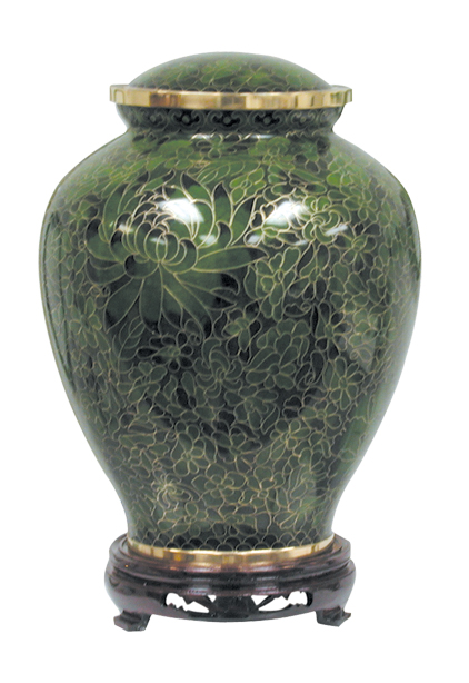 Hunter Green Cloisonne' Urn Full Size  305.00 9.6 x 7.5 200 Cubic Inches Keepsake Size  83.00 3 x 1.75