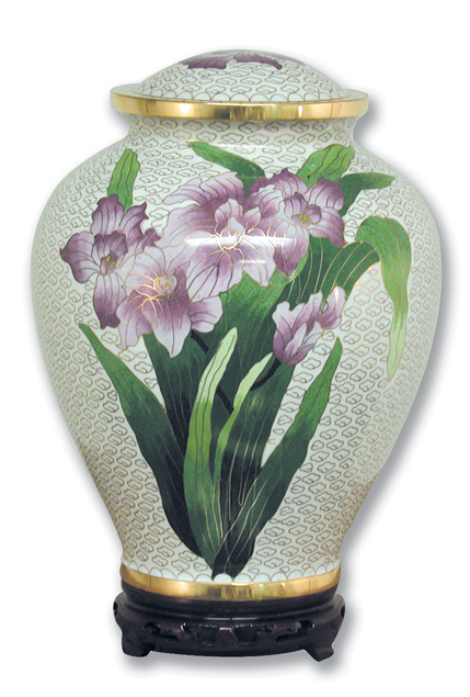 Iris Cloisonne' Urn Full Size $ 305.00 10.7 x 7.2 (200 Cubic Inches) Keepsake Size $ 83.00 3 x 1.75