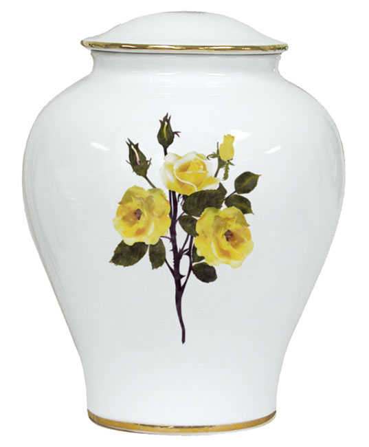 Yellow Rose Porcelain Urn  148.00 10 H x 7.75 W 225 Cubic Inches