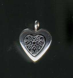 Heart w Antique Insert   199.00 in Sterling Silver  .75 W x 1 H