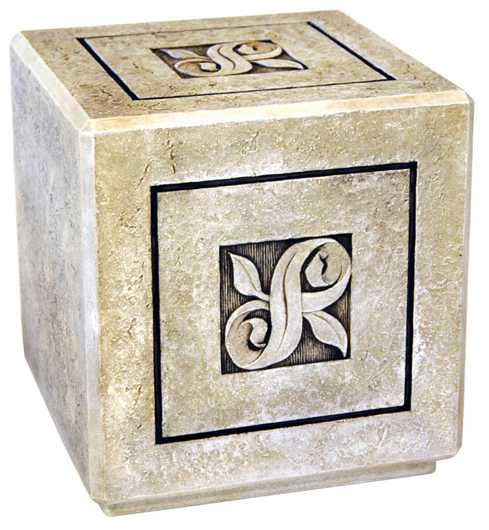 Infinity Textured Stone Urn Full Size $ 428.00 7�� W. x 7�� H. x 7�� D. (200 Cubic Inches) / Keepsake Size $ 111.00 2.5 W x 2.5 H x 2.5 W (1 Cubic Inch)