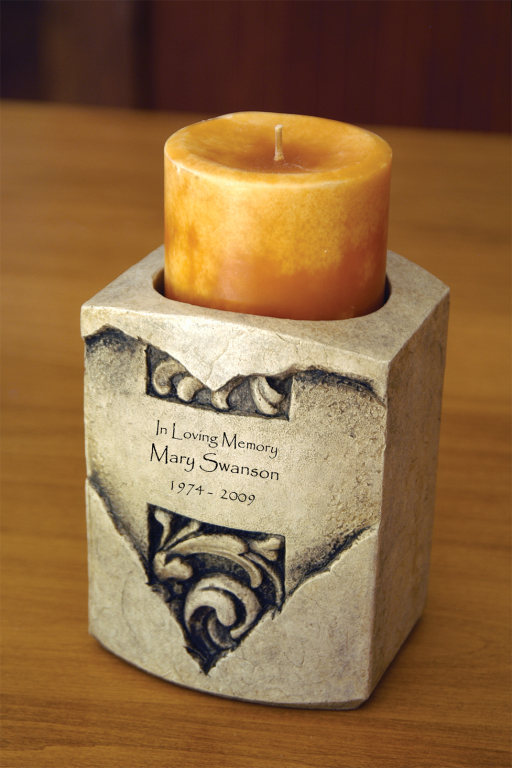Heart Textured Stone Candle Keepsake $ 133.00 4.5 W. x 4 D. x 6H., (9 Cubic Inches)