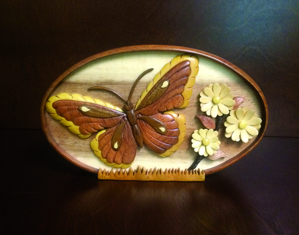Butterfly Hand Carved Wood Keepsake  99.00 6.5 H x 2.13 D x 3.63 W