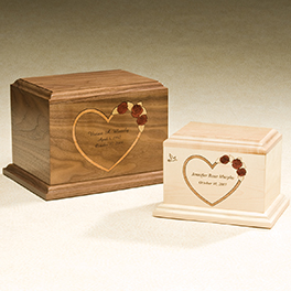 At Home in Our Hearts Urn  420.00 10W x 7.5D x 7H 200 cu. in. Keepsake  240.00 7.5W x 5.5D x 5.5H 52 cu. in.