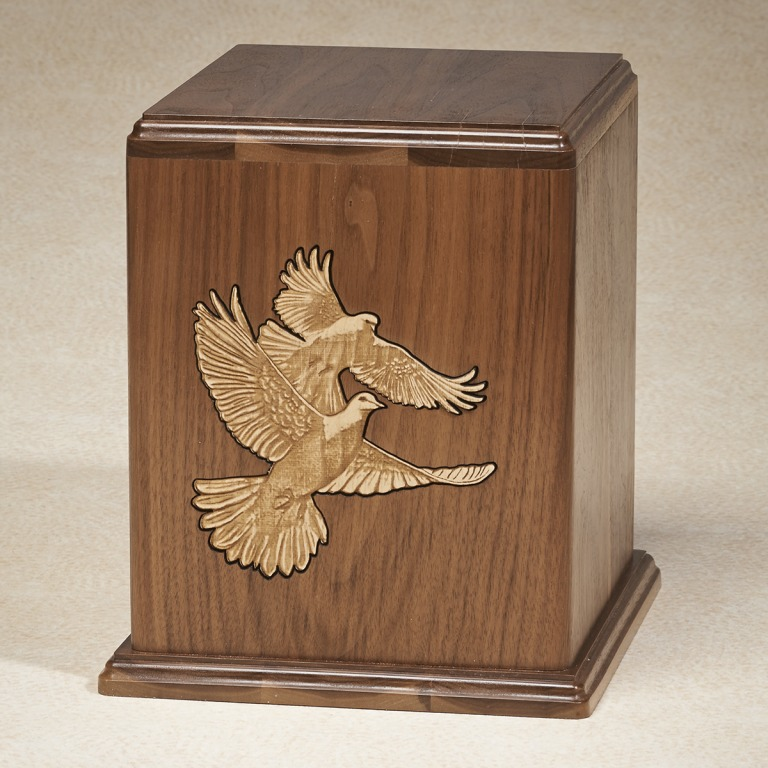 Love Birds Urn $ 250.00 - $ 360.00 Single 8W x 7-1/2D x 9H (200 cu. in.) / Companion 9-1/2W x 8-3/4D x 10-1/2H (400 cu. in.)