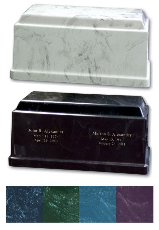 "Marble Companion Urn #30-B-360 $ 270.00 15"" W x 8""D x 7""H (376 cu in.)"