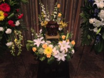 Urn display in Memorial Service