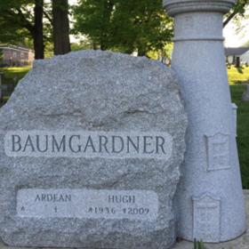 Gray custom boulder monument