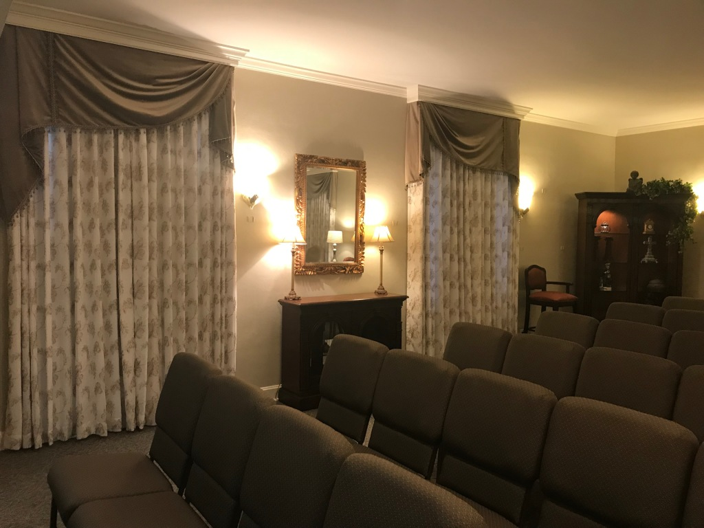 Recent additions to the main chapel include premium seating and custom window treatments, providing for a comforting and soothing atmosphere.