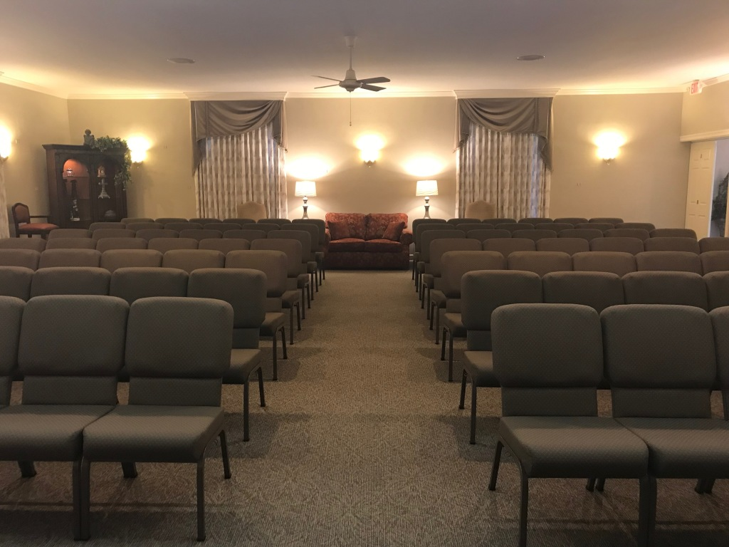 The main chapel offers traditional seating as well as group seating for the comfort of all visitors.