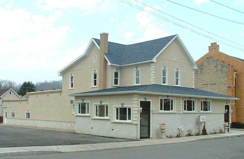 Front view of fully remodeled Liebegott-Brown Funeral Home, Inc., with a more modern look.