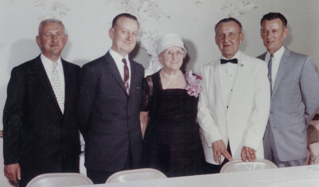 left to right Carl, William, Marry, Frank J., and George Becvar
