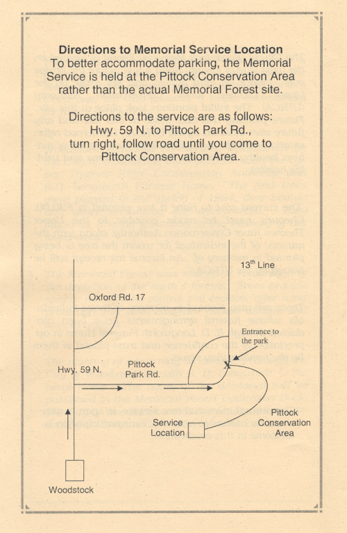 Page 4 of the Memorial Forest handout with directions.