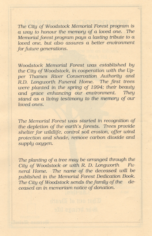 Page 2 of the Memorial Forest handout.