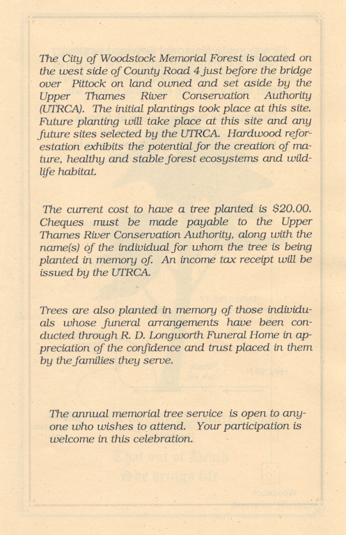 Page 3 of the Memorial Forest handout.