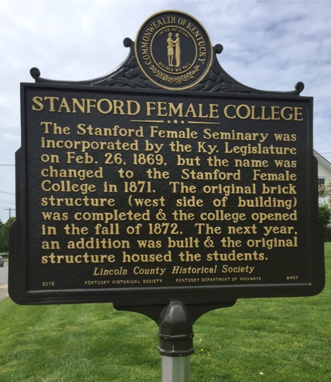 Stanford Female College Historical Marker front side-Dedicated  April 25, 2015