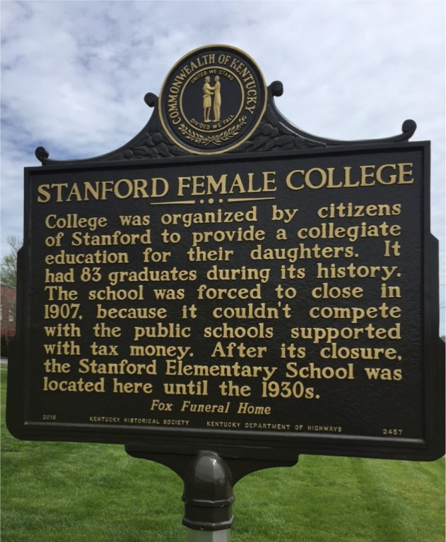 Stanford Female College Historical Marker back side-Dedicated  April 25, 2015
