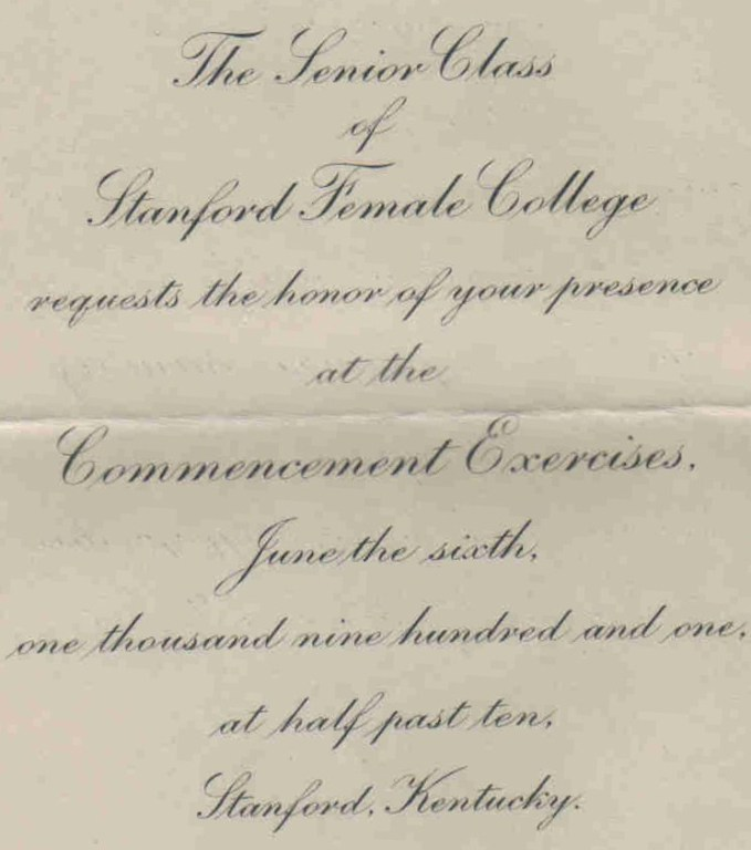 Stanford Female College Commencement Invitation-1901 (photo courtesy of Michael Wiser)