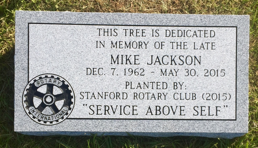 Dedication Marker for Mike Jackson Stanford Rotary Club
