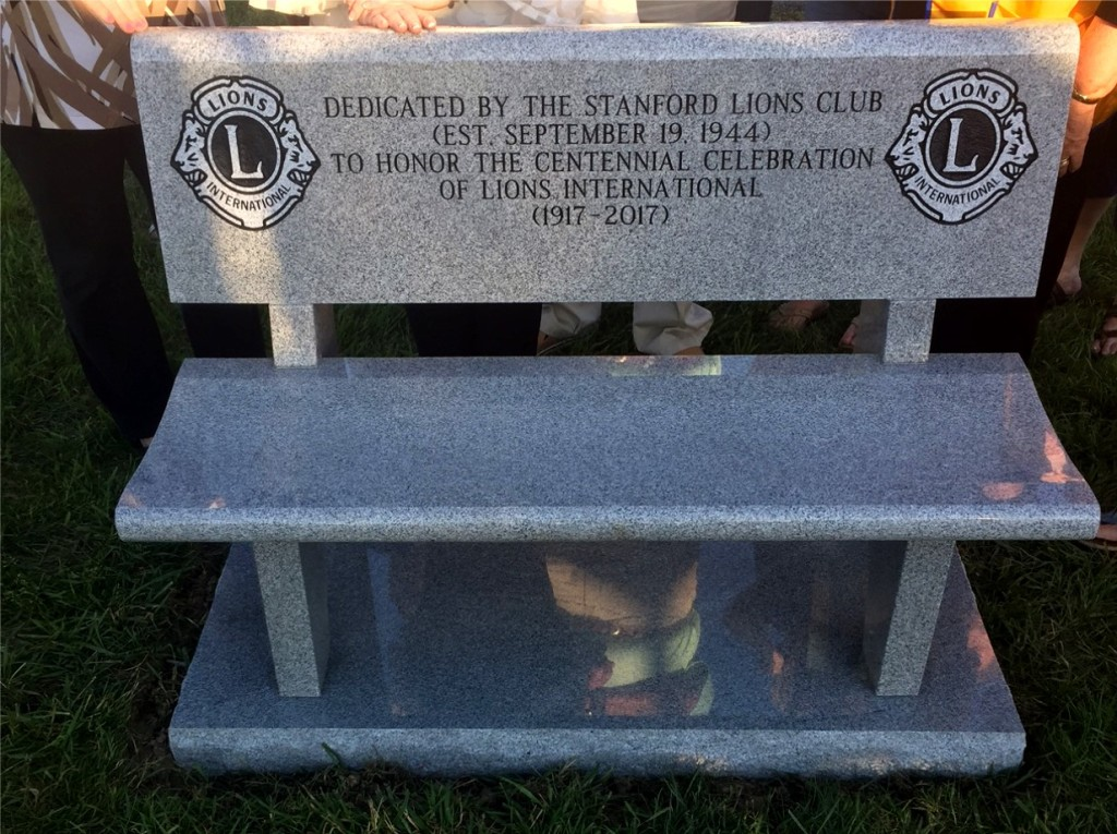 Stanford Lions Club Dedication Bench 2017
