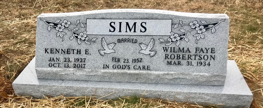 The Monument of Kenneth E.  Wilma Faye Robertson Sims