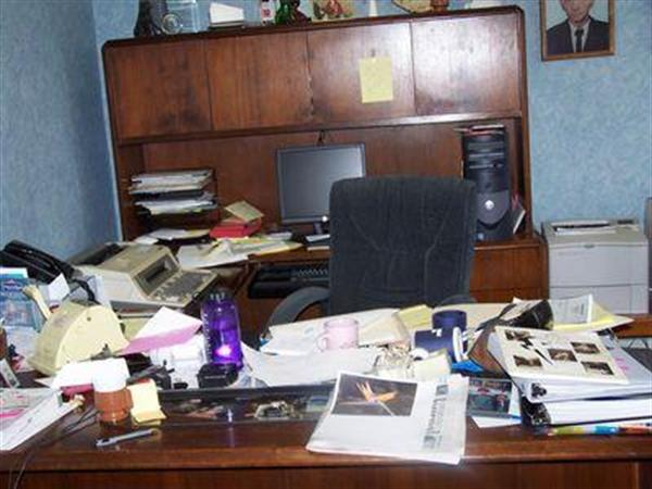 The always popular joke of Allison's messy desk -